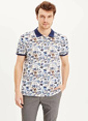 DeFacto Slim Fit Çiçek Desenli Polo Yaka T-shirt